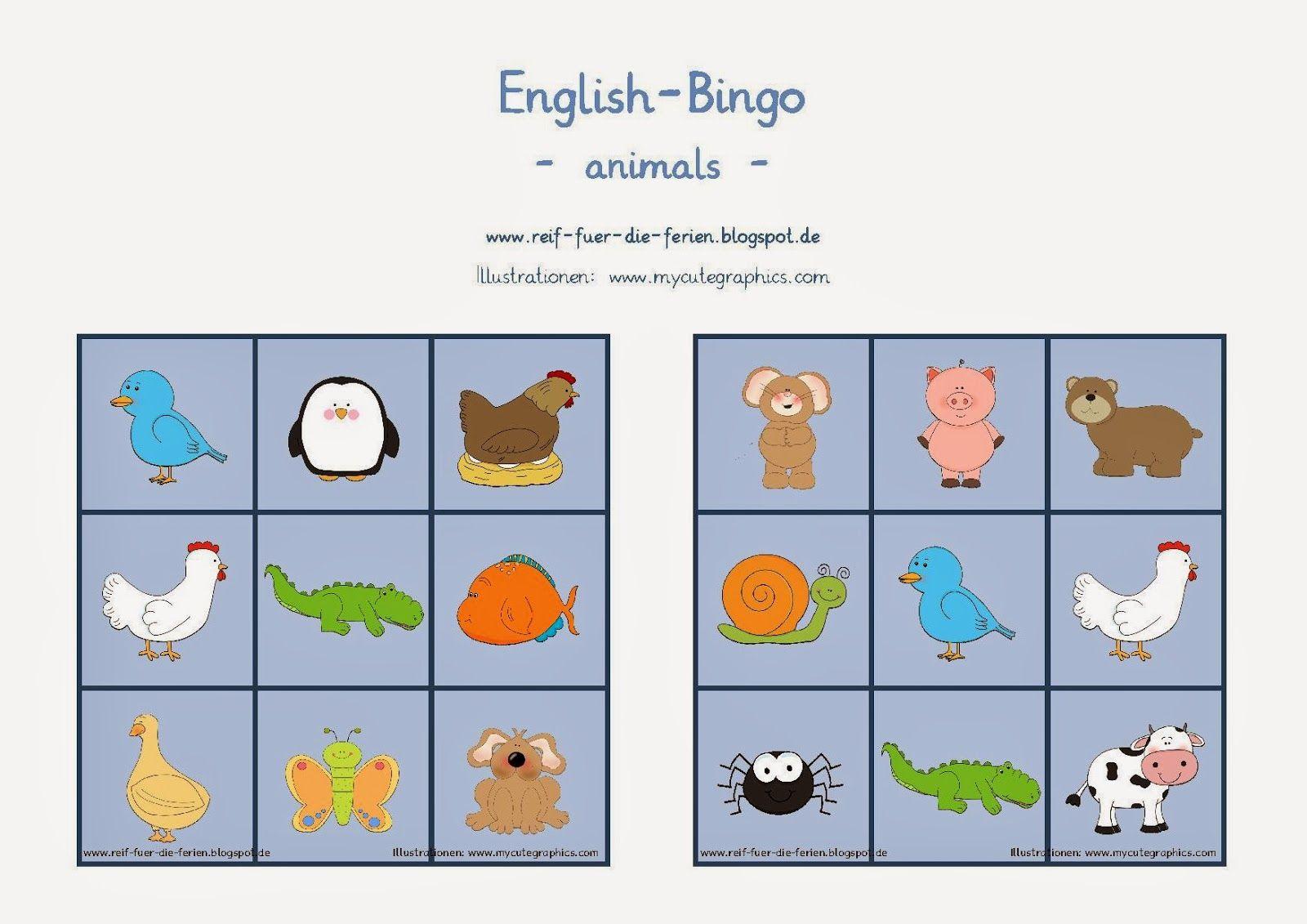 reif f r die ferien englisch bingo zum thema animals englischunterricht grundschule english. Black Bedroom Furniture Sets. Home Design Ideas