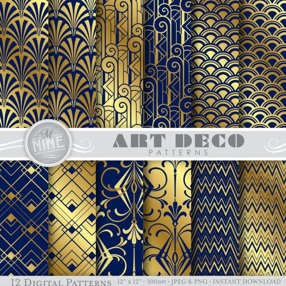 "ART DECO Digital Paper ""Navy Blue & Gold Art Deco"
