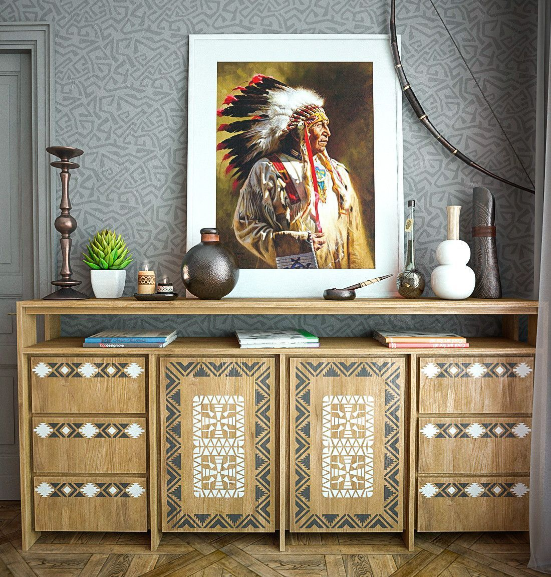 Native American Motif Stencil Kit Furniture Stencils Indians Style