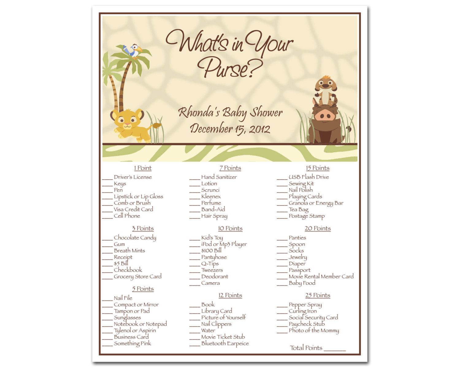 Printable Lion King Baby Shower What\'s In Your Purse Game - Simba ...