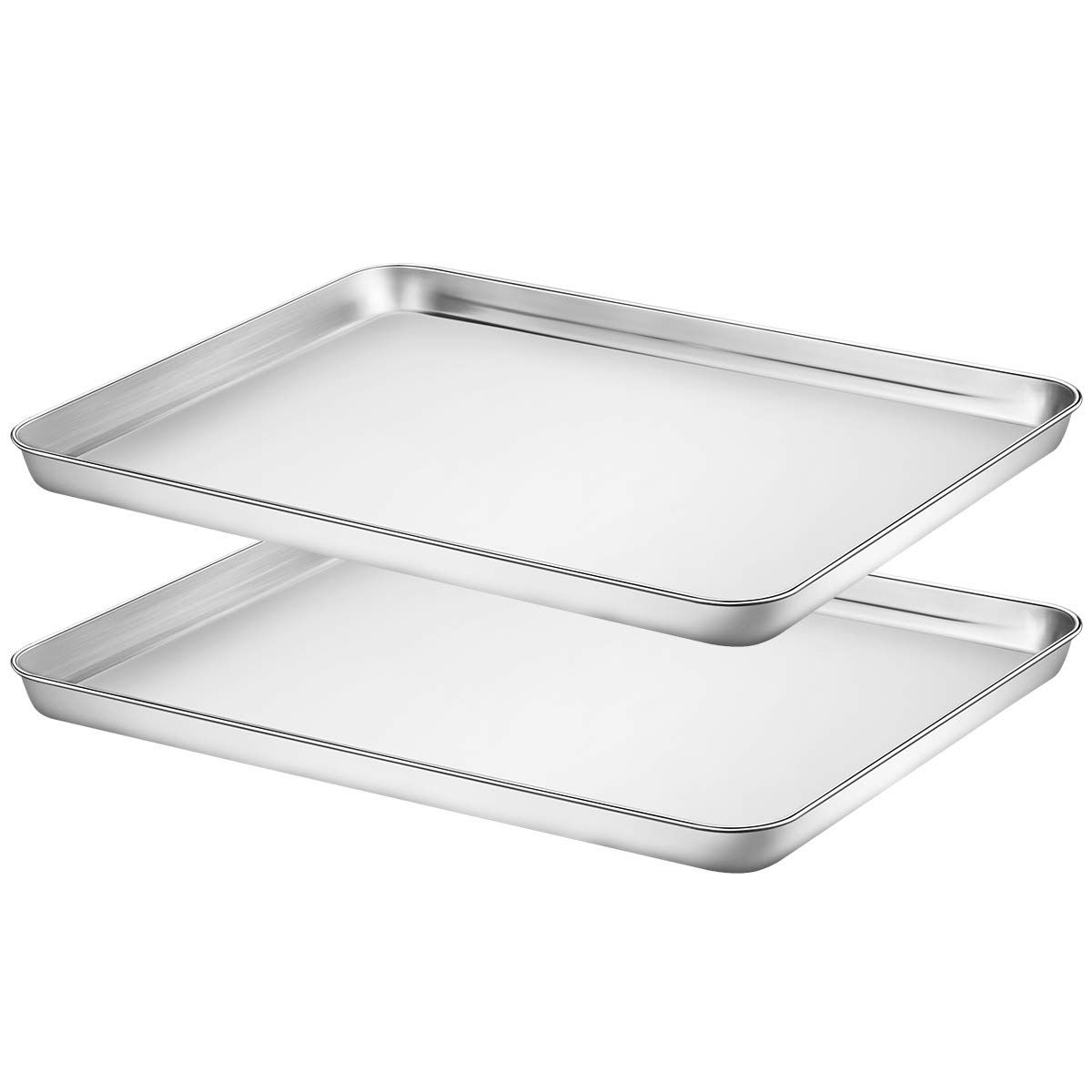 Footek Baking Sheet Set Of 2 Stainless Steel Baking Pans Cookie Sheets For Toaster Oven 16 La 12 Wa 1 H Healthy An Stainless Steel Cookie Sheet Easy Cleaning