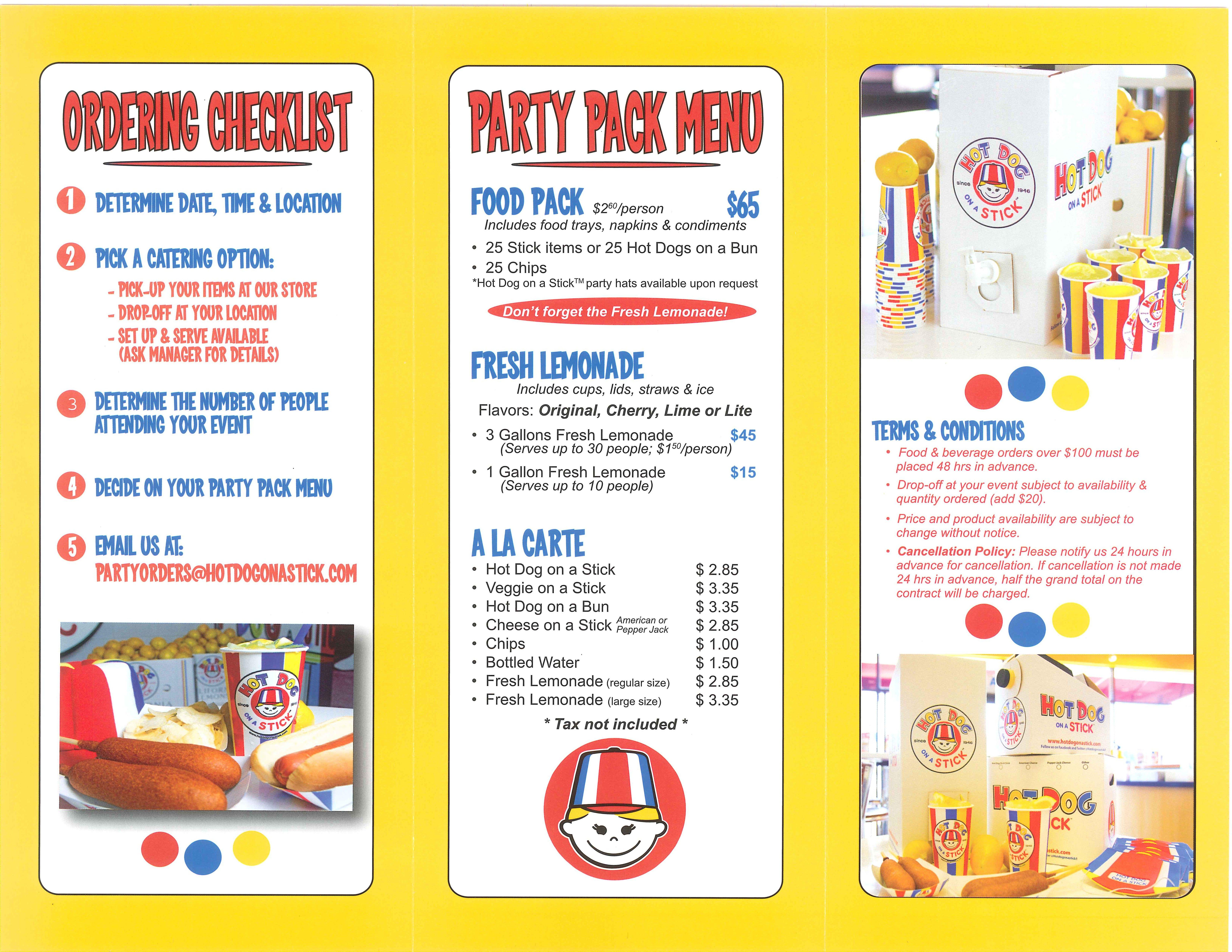 Hot Dog on a Stick color pallet. Party packs, Food pack