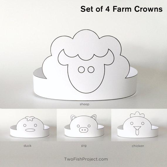 Diy Coloring Mask Printable Paper Crown Kit Kids Birthday Etsy Coloring Mask Crown For Kids Paper Crowns