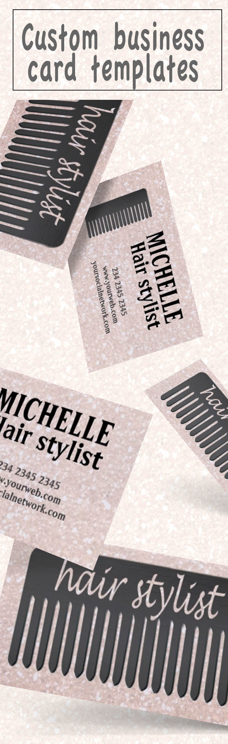 Lucida handwriting typography hair stylist comb business card glitter business card design for makeup artist bloggers hair stylist hairdressers nail artist salon a sparkling business card with hair comb business colourmoves