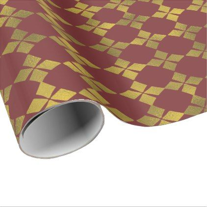 Maroon Gold Faux Foil Flower Pattern Paper Roll Zazzle Com With