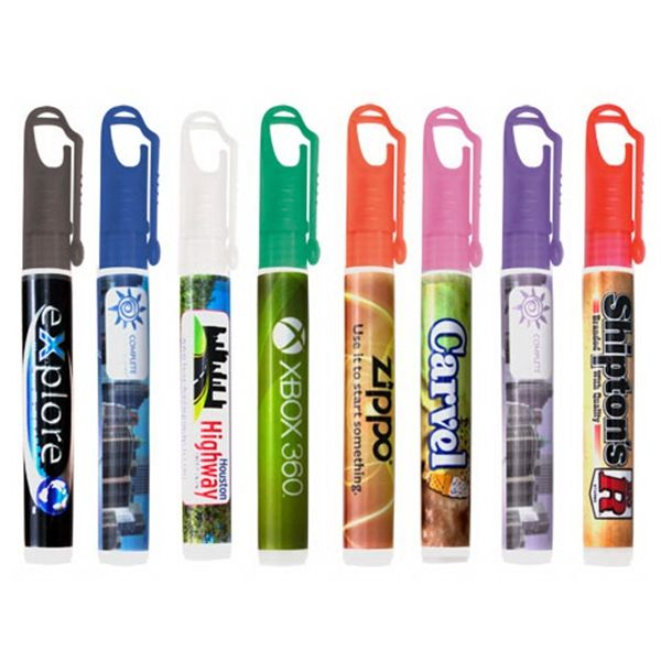 Colorful Carabiner Clip Cap Hand Sanitizer Spray 10 Ml 33 Oz