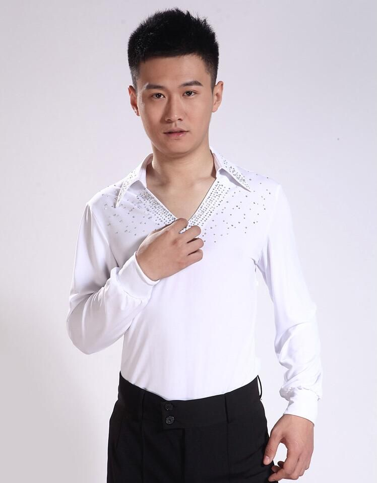 Male Latin dance costume clothing adult clothes suit practice clothes white  v-neck 0071 hot 0e68dd38d
