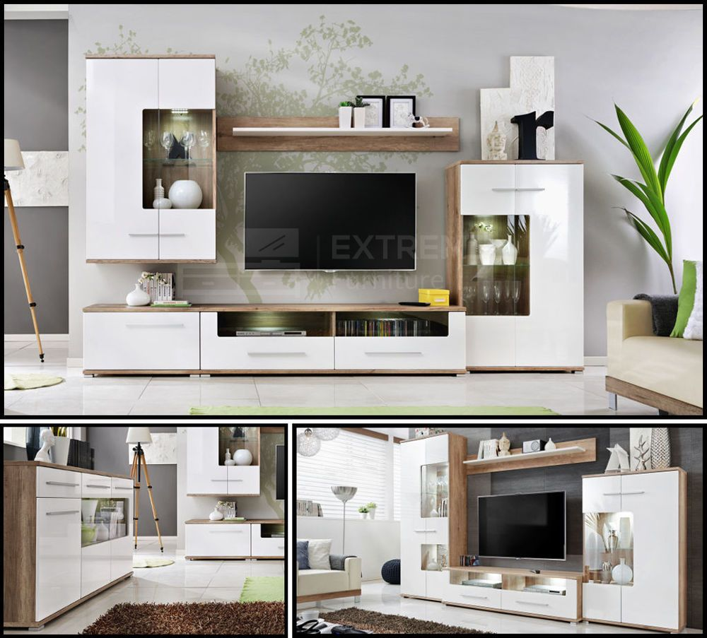 Wall Units Furniture Living Room Details About Living Room High Gloss Furniture Display Wall Unit