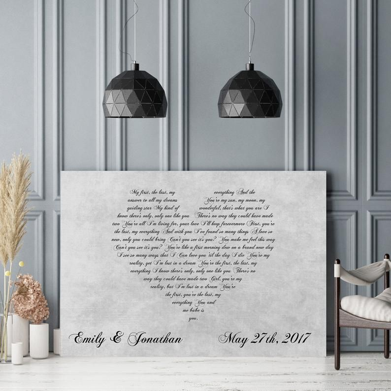 First Dance Lyrics On Canvas - Your Wedding Song On Canvas, First Dance Song, Wedding Song On Canvas, Heart Lyrics, First Anniversary Gift