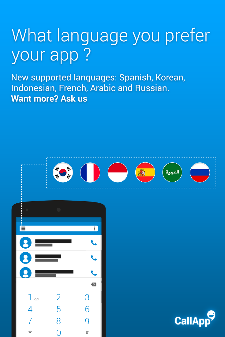 YOU ASK - WE DELIVER :) New languages for your CallApp!!  Now at GooglePlay - callapp.com/d