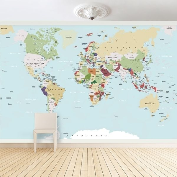Fototapete Grosse Weltkarte Wallpaper With A Map Of The World By