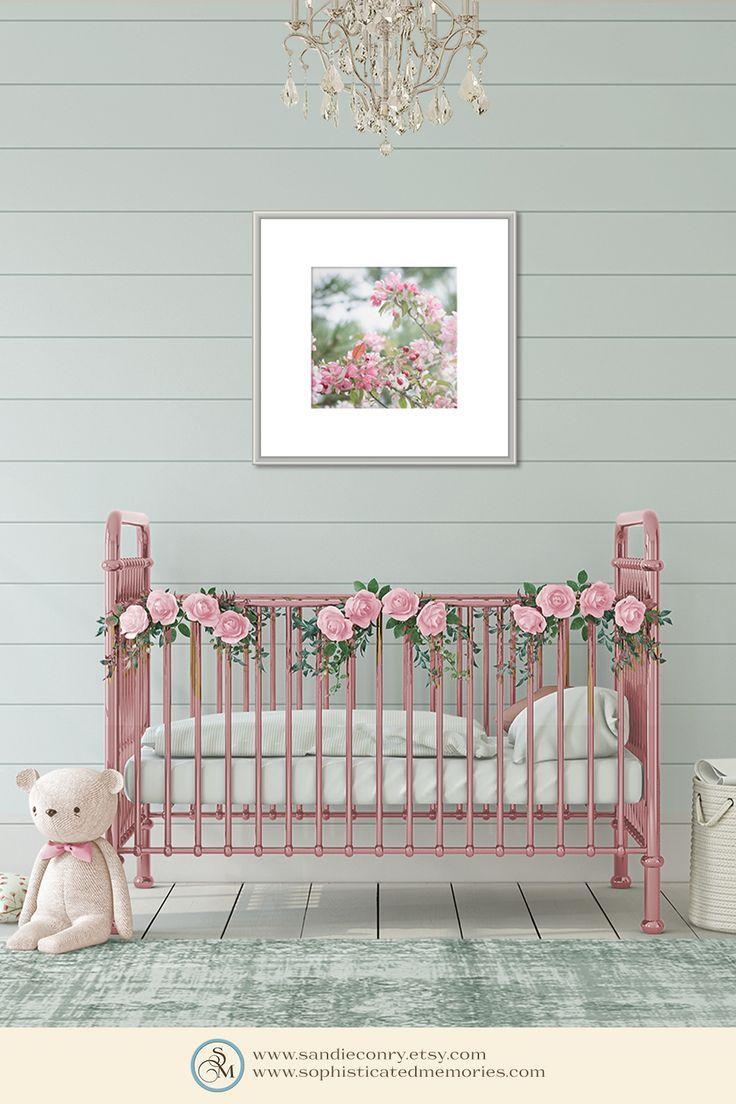10x10 Girls Bedroom: Apple Blossoms Wall Decor, Girl Bedroom Art, Pink
