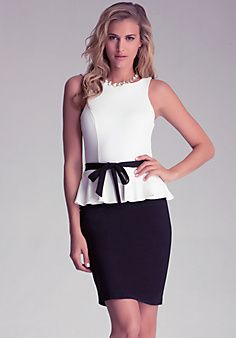 Bebe Textured Peplum Dress