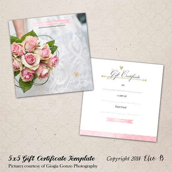 5x5 Photography Gift Certificate - Photoshop Template - M001 - photography gift certificate template