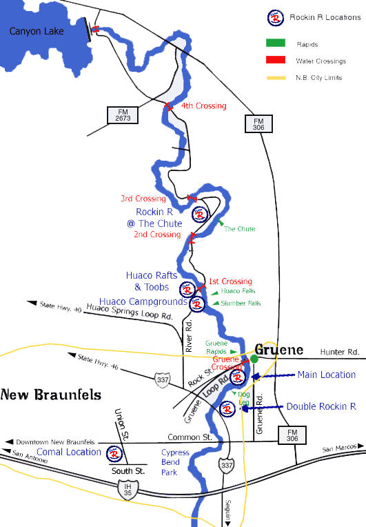 Guadalupe River Tubing Map ROCKIN' R RIVER RIDES, GUADALUPE RIVER TEXAS | Texas River Rats