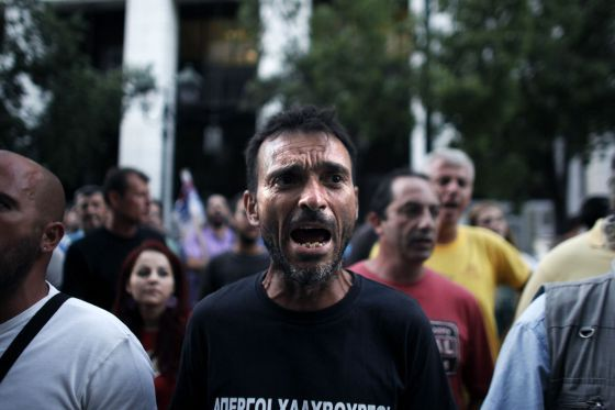 Demonstration against new salary cuts in Greece this year. Unemployment has risen 88% since the European 'bailout'.