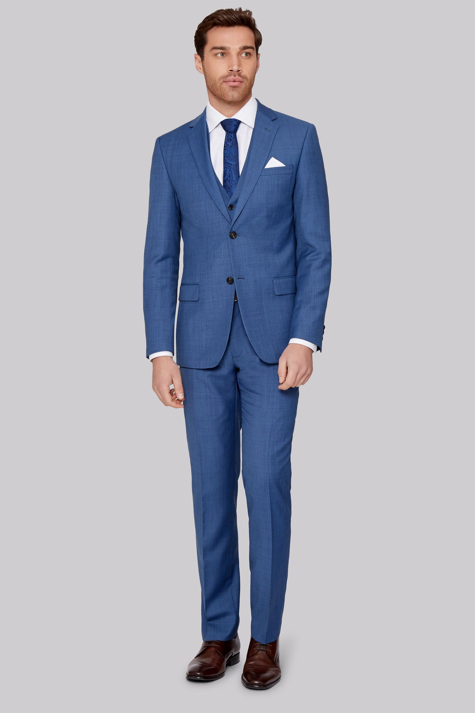 6f4684face066 Give your suiting collection a continental twist with this French blue  sharkskin suit Vibrant and beautifully tailored