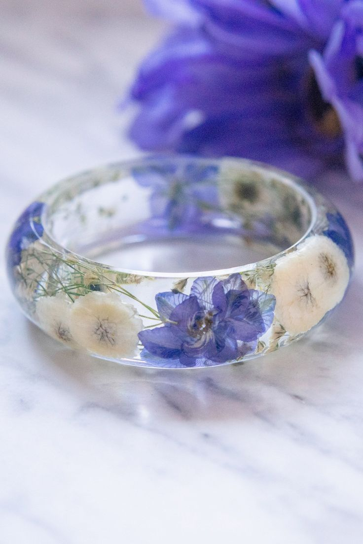 Photo of Real Pressed Flower Resin Bangle Bracelet, Blue Purple Cherry Blossoms –   – #ba…