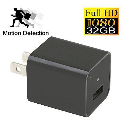 32GB HD 1080P USB Mini SPY Motion Hidden Wall Charger Camera Adapter Plug Cam E