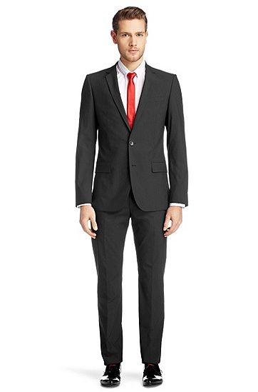 traje slim fit 39 amaro heise 39 en mezcla de algod n negro. Black Bedroom Furniture Sets. Home Design Ideas