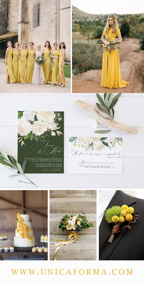 Yellow wedding palette. Green wedding color palette. Yellow ...
