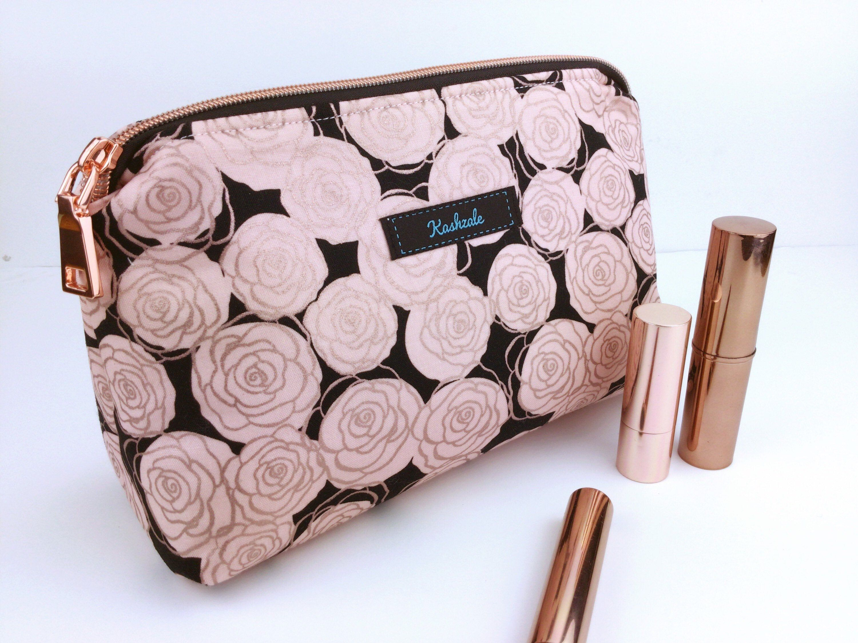 Rose Gold Makeup Bag, Rose Gold Roses Cosmetic Bag. Medium