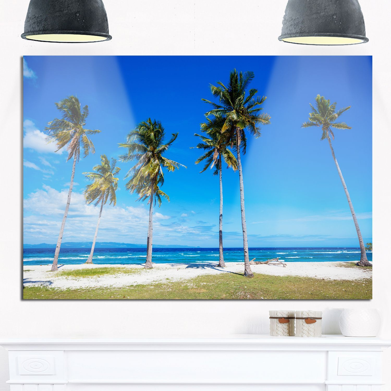 Palms on philippines tropical beach modern seascape glossy metal