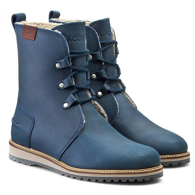Botki Lacoste Baylen 4 Srw 7 30srw0003003 Niebieski Botki Kozaki I Inne Damskie Boots Biker Boot Combat Boots