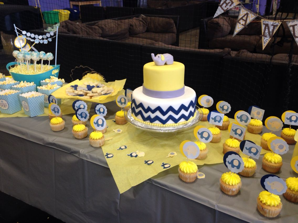 Elephant Navy Blue Yellow And Gray Baby Shower Grey Baby Shower