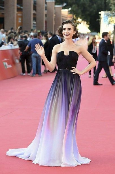 924519dc5f0 dress gown strapless dresses purple dress celebrity elie saab black dress  prom dress rainbow long dress ombre dress lily collins ombre two-piece long  prom ...