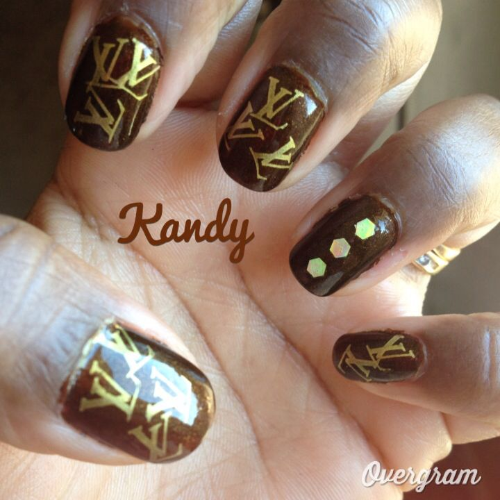 Louis Vuitton nail stamping design, I used orly\'s buried alive ...