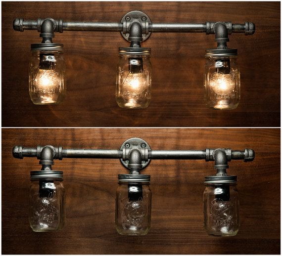 diy pipe lighting. 3 mason jar light pipe vanity by eyekandypipeworks diy lighting r