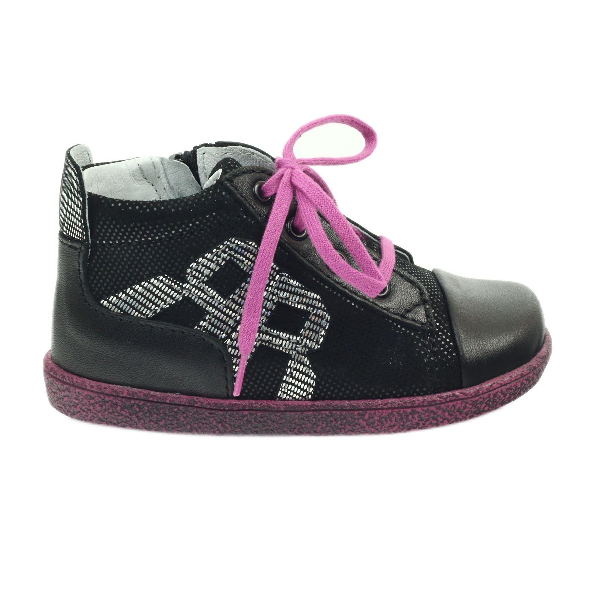 Polbuty Silpro Ren But 1501 Czarne Rozowe Childrens Shoes Girls Shoes Kid Shoes