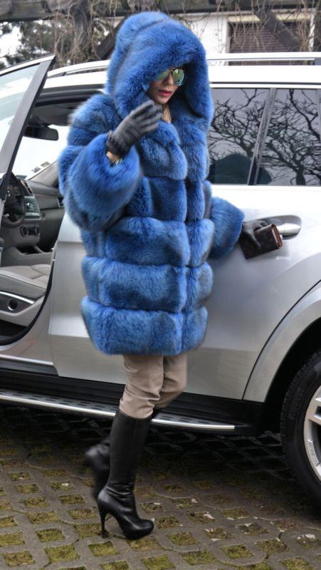 Ocean blue royal saga Silver Fox Long poncho manteau de fourrure veste lik sable vison Lynx | eBay