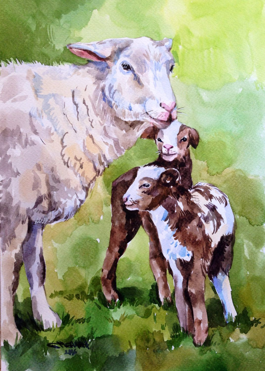 Original Watercolor Painting Mother Sheep And Her Lambs Farm