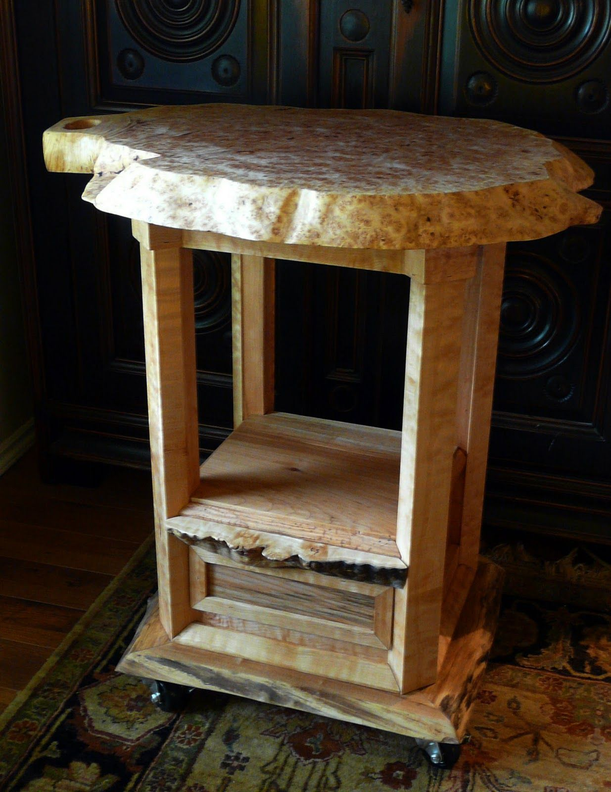 Furniture, Custom DIY Rustic Round Butcher Block Island On Wheel With Drawer And Storage For ...