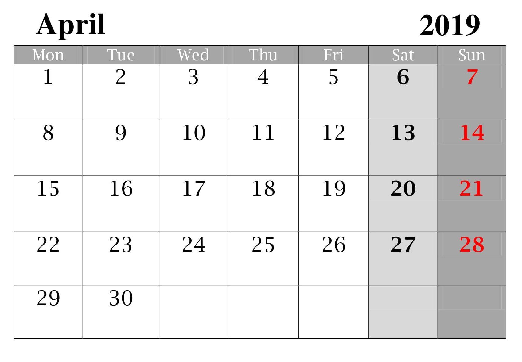 Blank April Calendar Word