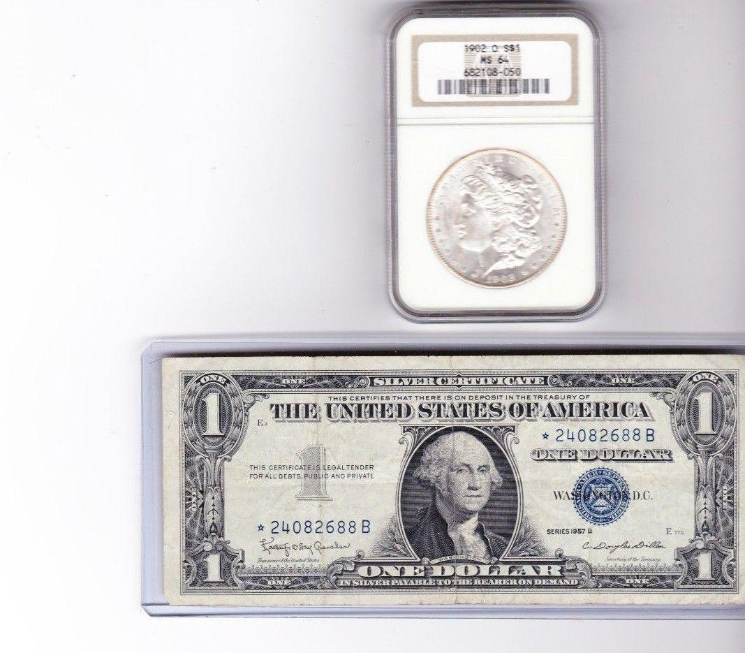 1902 O Morgan Silver Dollar 1957b 1 Silver Certificate Star Note