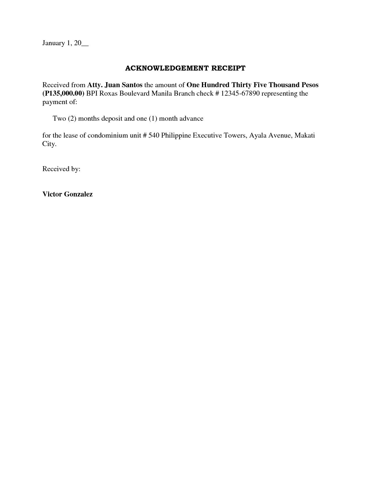 Acknowledgement Receipt Letter Template.Editable Payment Receipt Letter And Acknowledgement Of