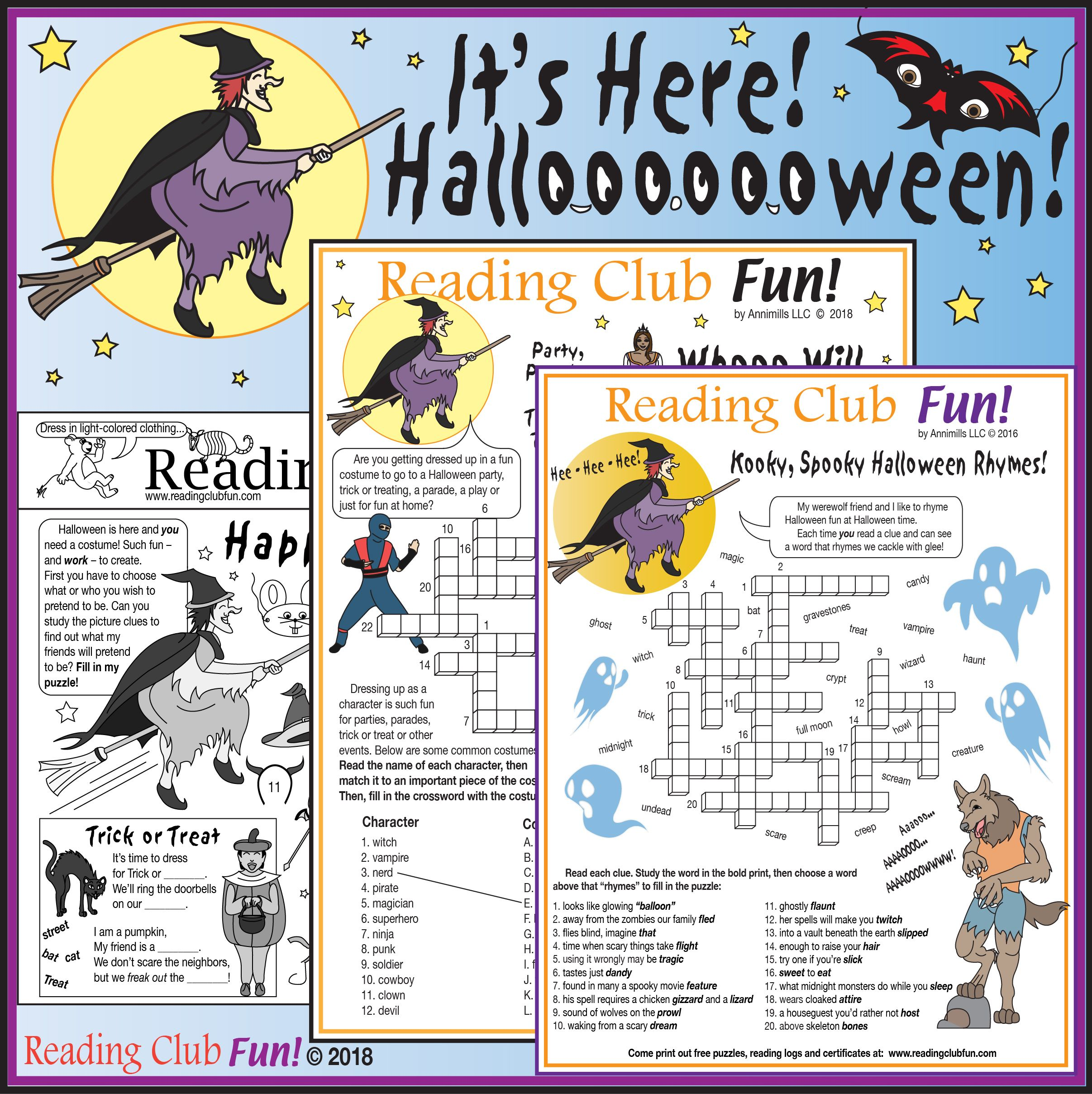 Halloween Is Here Kit Trick Or Treat Costumes Rhymes