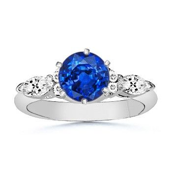 Angara Diamond Halo Blue Sapphire Stackable Ring in Platinum