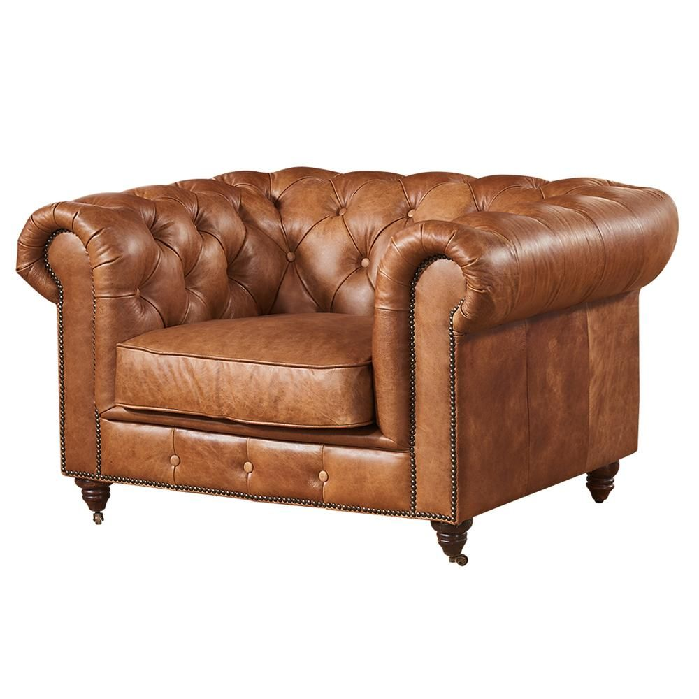 Century Chesterfield Arm Chair Light Brown Leather In 2020 Chair Chesterfield Living Room Sofa Design