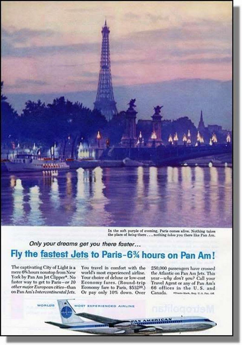 pan am to paris 1960s Paris, American airlines, Vintage