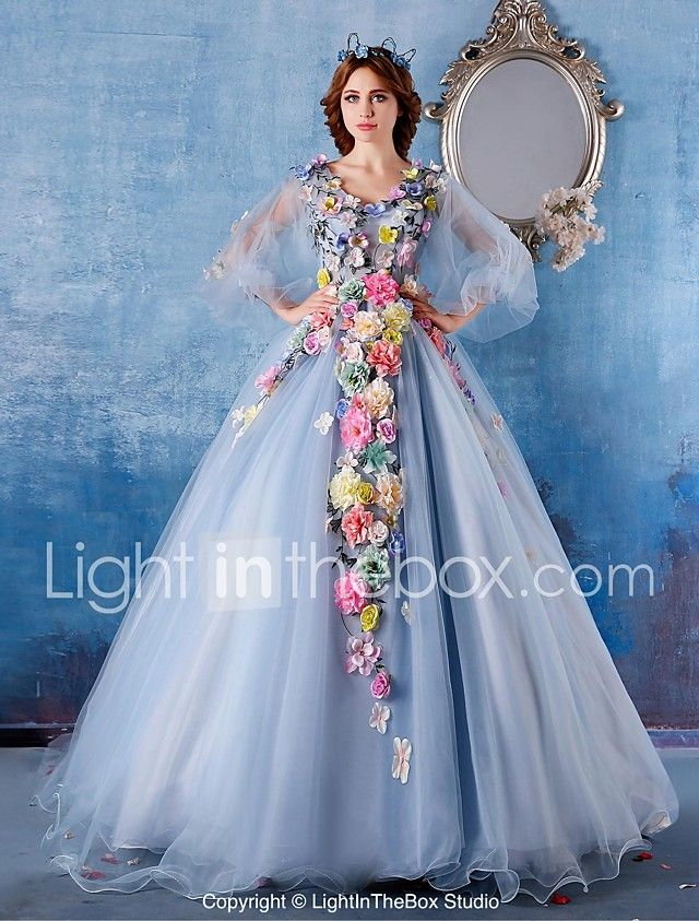 Ball Gown Princess V Neck Chapel Train Satin Tulle Formal Evening ...