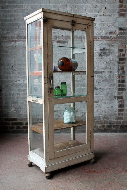 Industrial Drugstore Cabinet Reclaimed Vintage Retail Display Curio Medical Cabinet Wood And Glass Cottage Chic Boho Import Furniture Medical Office Furniture Medical Cabinet Retail Display