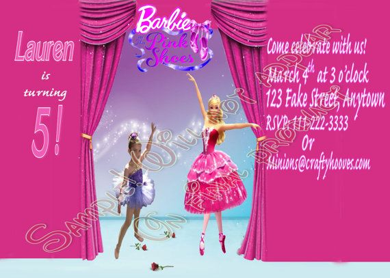 Barbie and the Pink Shoes Photo Birthday Party Invitations UPrint – Shoe Party Invitations
