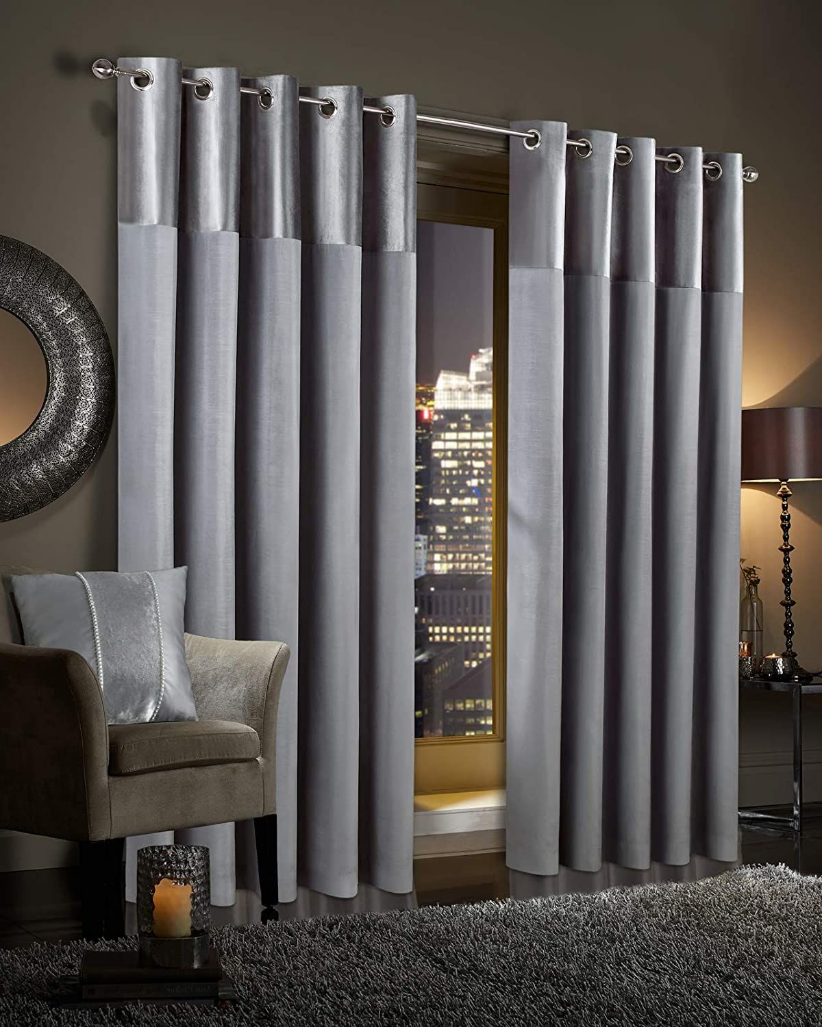 Gran Reno Crushed Velvet Curtains PAIR Faux Silk Fully Lined Eyelet Ring Top Curtains (Silver Grey, 46