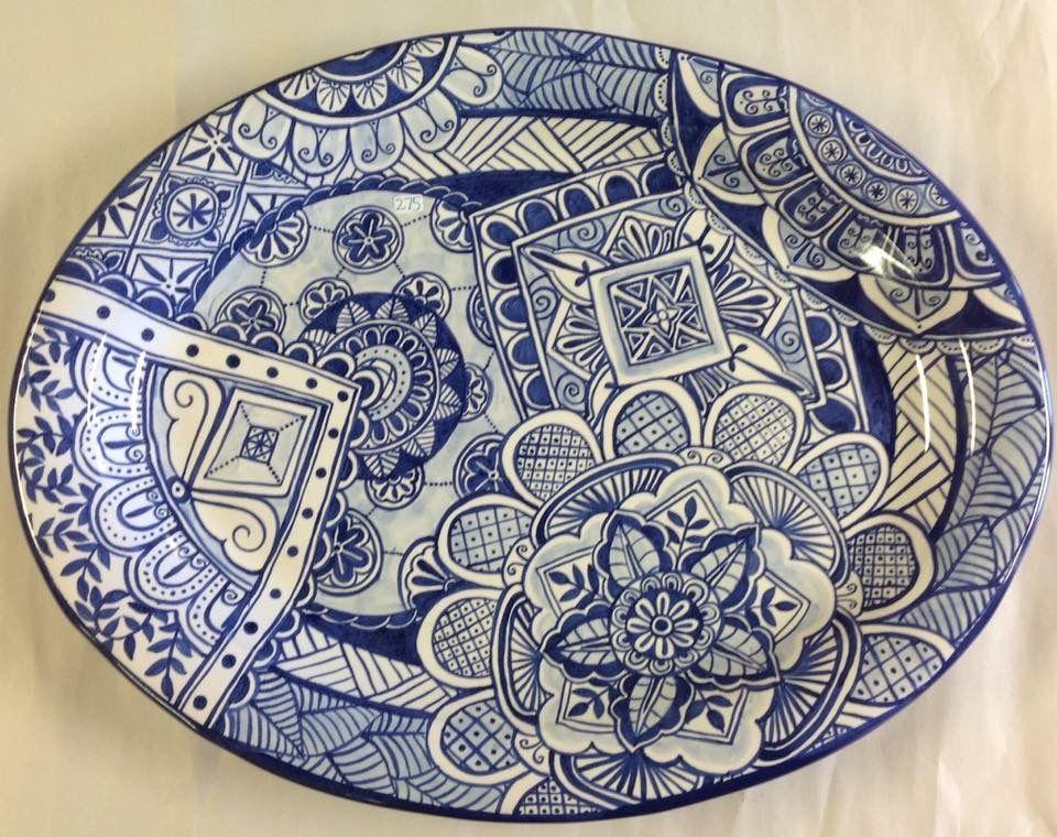 Large Oval Blue And White Platter Painted By Tessa Ceramica Pintada A Mao Ceramica Artesanal Azul E Branco