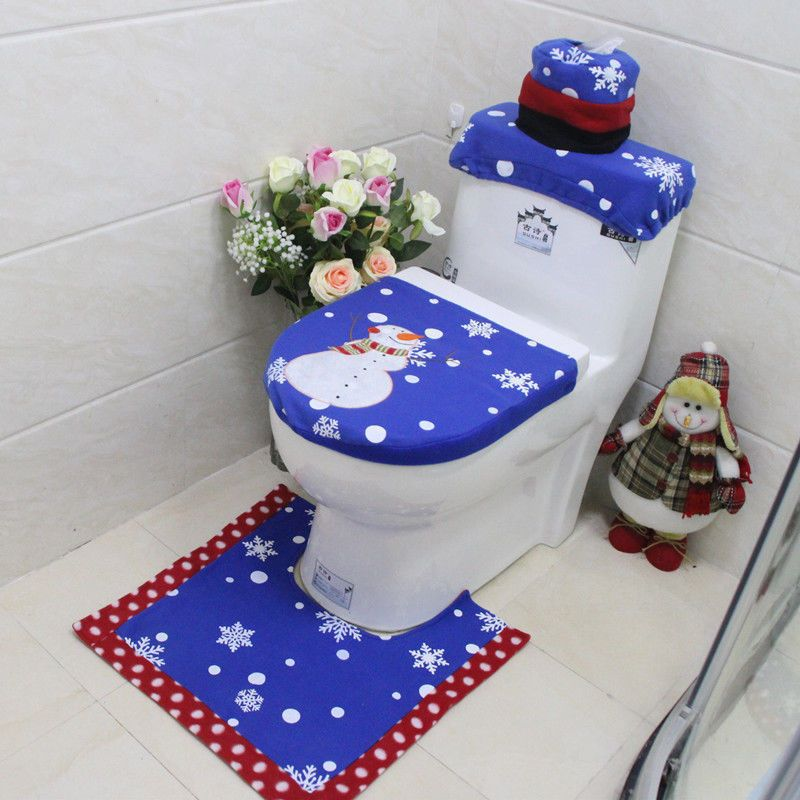 3pcs Xmas Snowman Toilet Seat Cover Rug Sets Christmas Bathroom Decors
