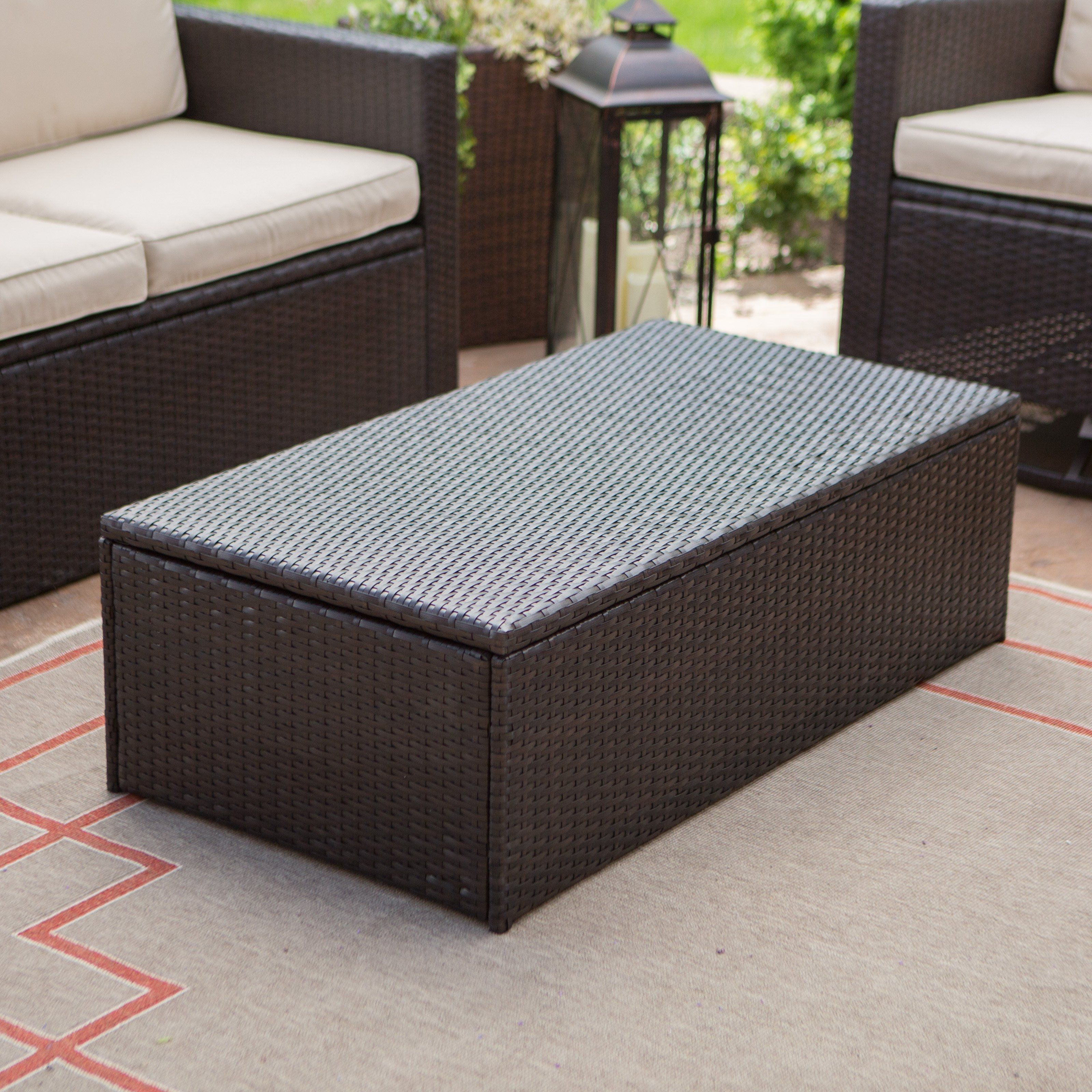 Outdoor wicker coffee table with storage no home will soon be complete without the furniture coffee table sets are amongs